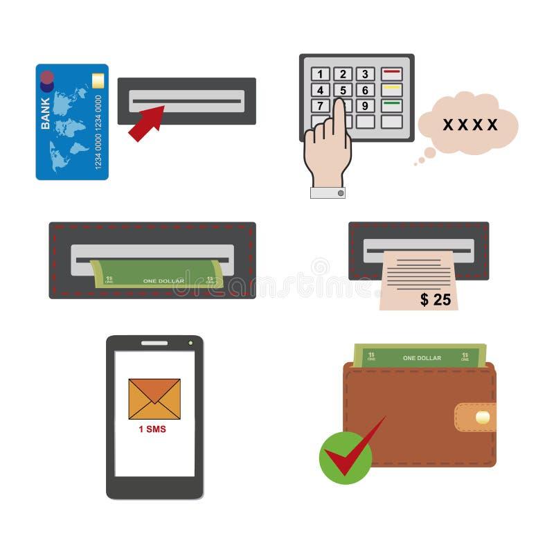 Постепенные инструкции для использования ATM Плоский дизайн концепции использования ATM терминальной Входя в PIN и получать получ иллюстрация штока