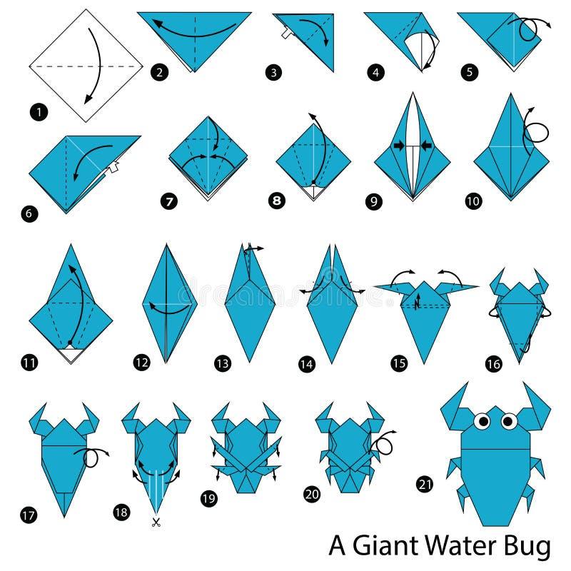 Постепенные инструкции как сделать origami a ошибку гигантской воды стоковые фото