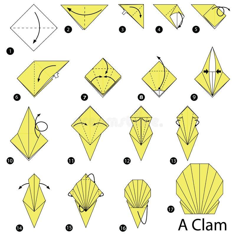 Постепенные инструкции как сделать origami Clam стоковая фотография rf