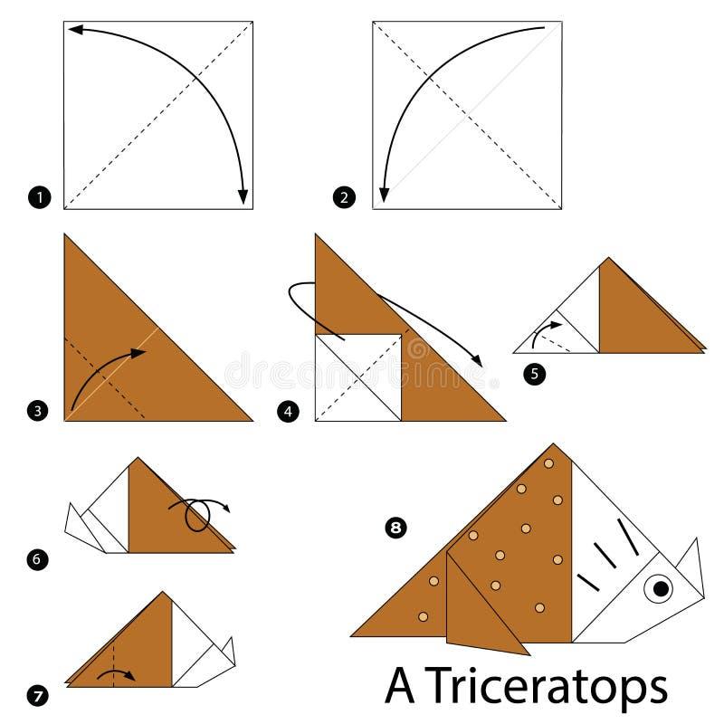 Постепенные инструкции как сделать динозавра origami a иллюстрация штока