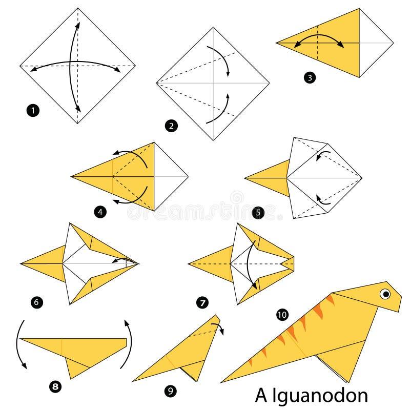 Постепенные инструкции как сделать динозавра origami a бесплатная иллюстрация