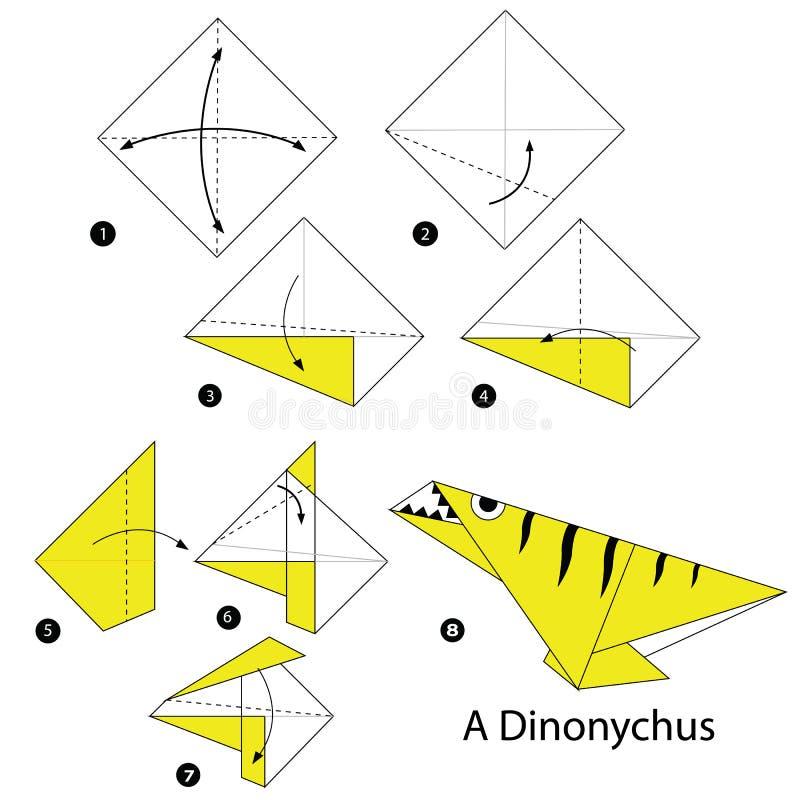 Постепенные инструкции как сделать динозавра origami a иллюстрация вектора