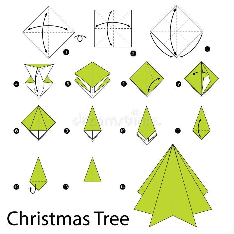 Постепенные инструкции как сделать рождественскую елку origami иллюстрация вектора