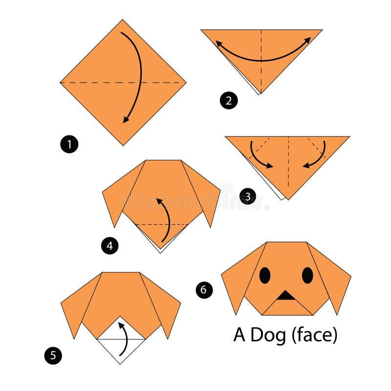 Постепенные инструкции как сделать собаку origami иллюстрация вектора