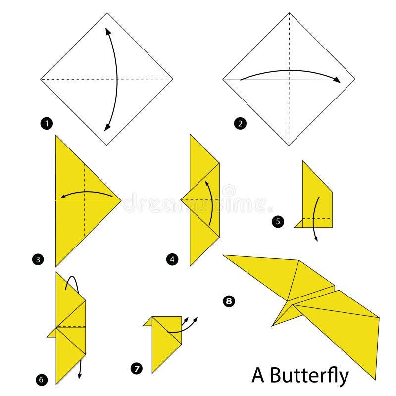 Постепенные инструкции как сделать origami бабочку иллюстрация вектора
