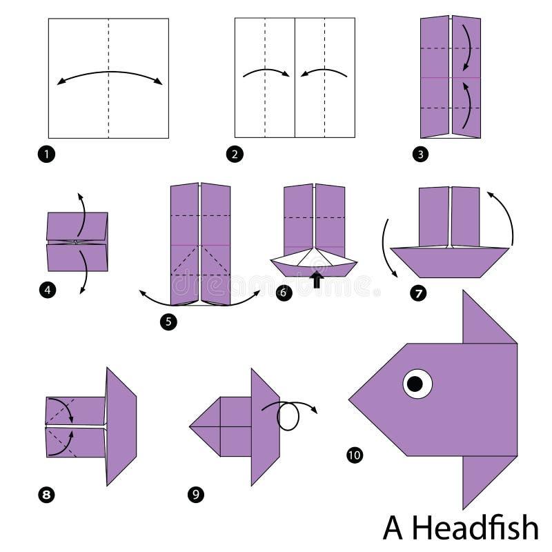 Постепенные инструкции как сделать origami головную рыбу бесплатная иллюстрация