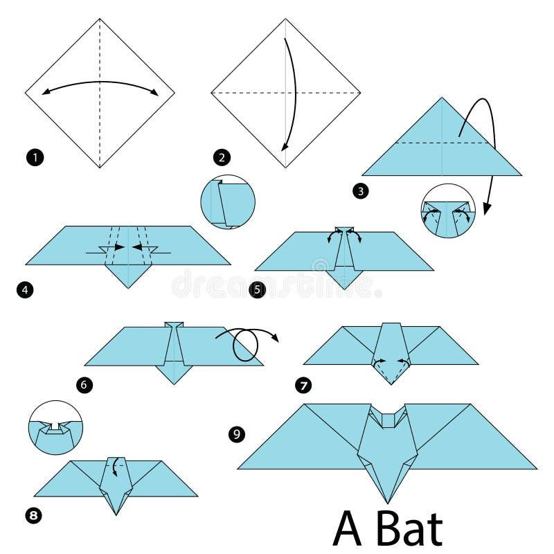 Постепенные инструкции как сделать origami летучую мышь бесплатная иллюстрация