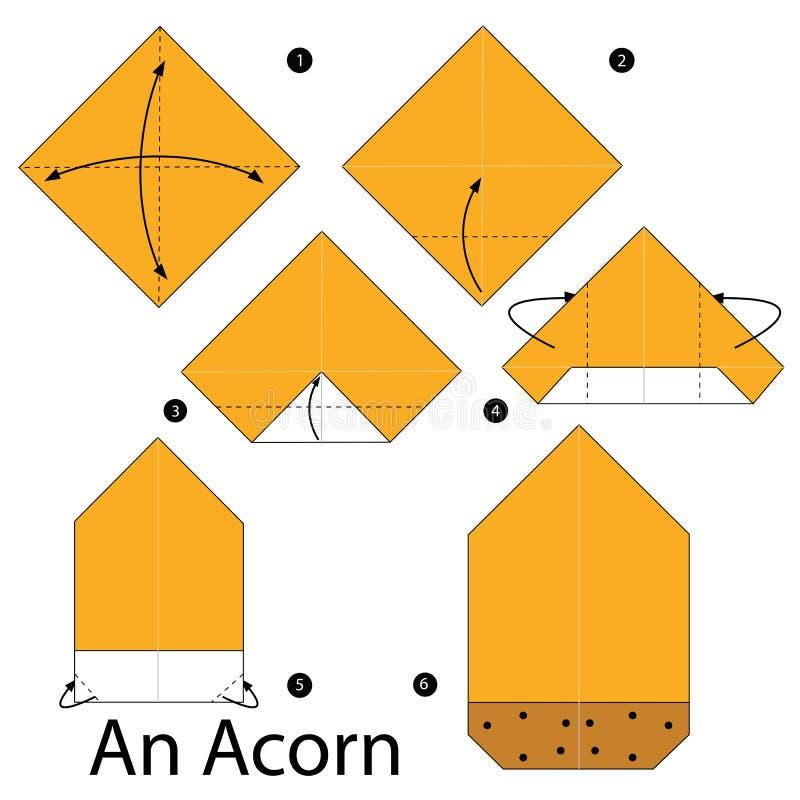 Постепенные инструкции как сделать origami жолудь иллюстрация штока