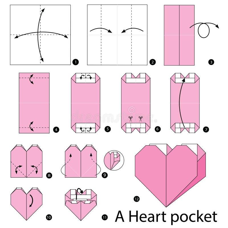 Постепенные инструкции как сделать origami карманн сердца иллюстрация вектора