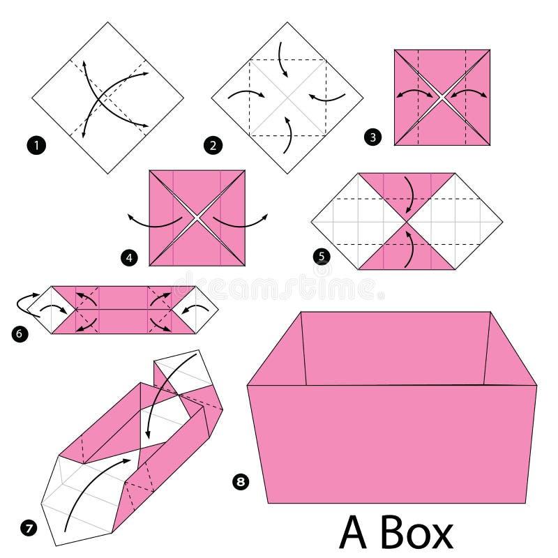 Постепенные инструкции как сделать origami коробку иллюстрация штока