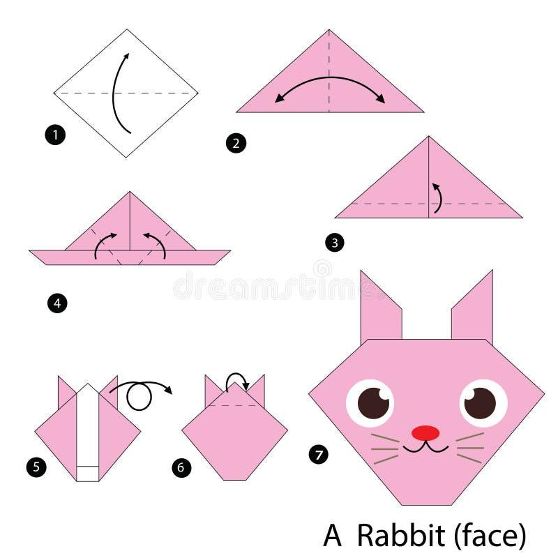Постепенные инструкции как сделать origami кролика иллюстрация вектора