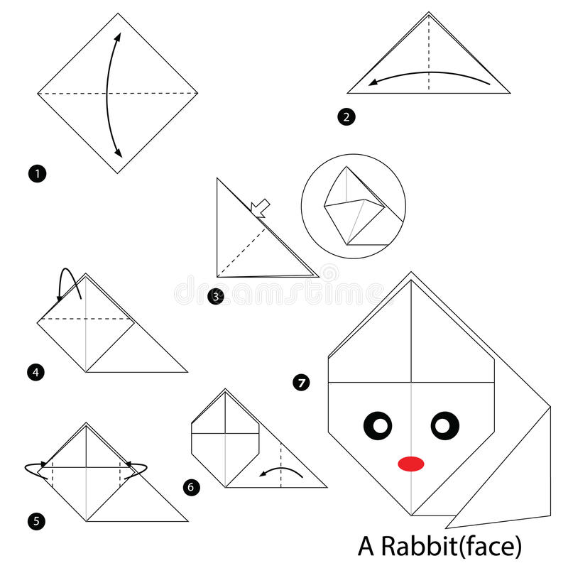 Постепенные инструкции как сделать origami кролика иллюстрация штока
