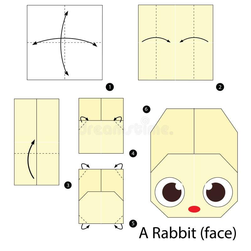 Постепенные инструкции как сделать origami кролика стоковые изображения rf