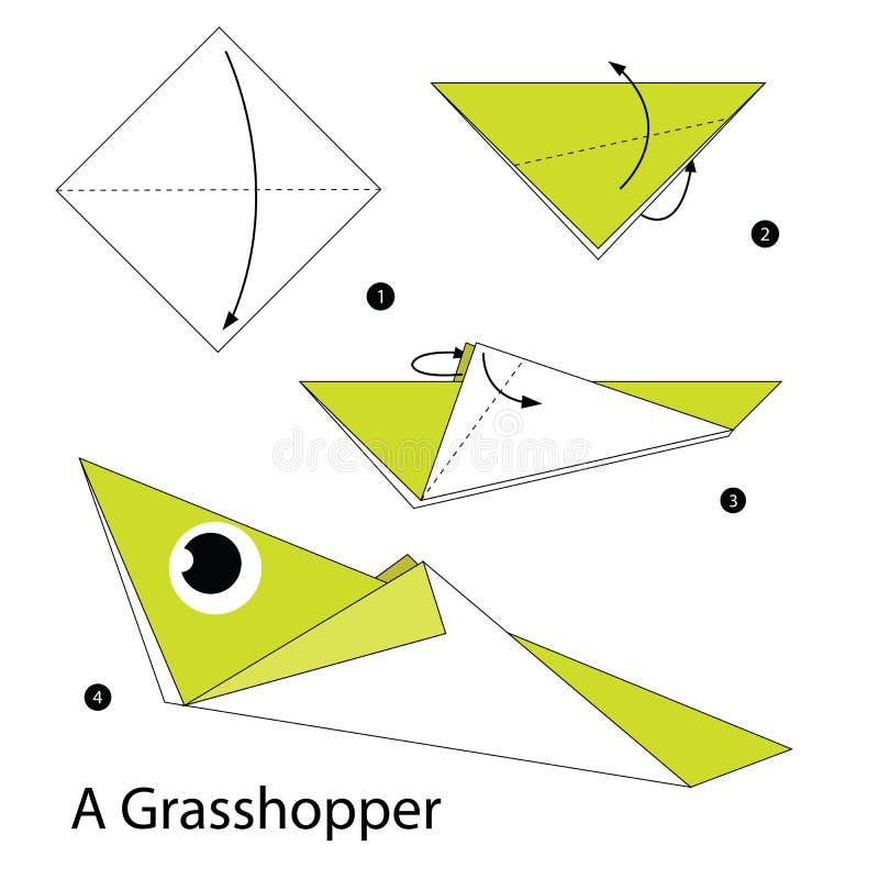 Постепенные инструкции как сделать origami кузнечика стоковые фотографии rf