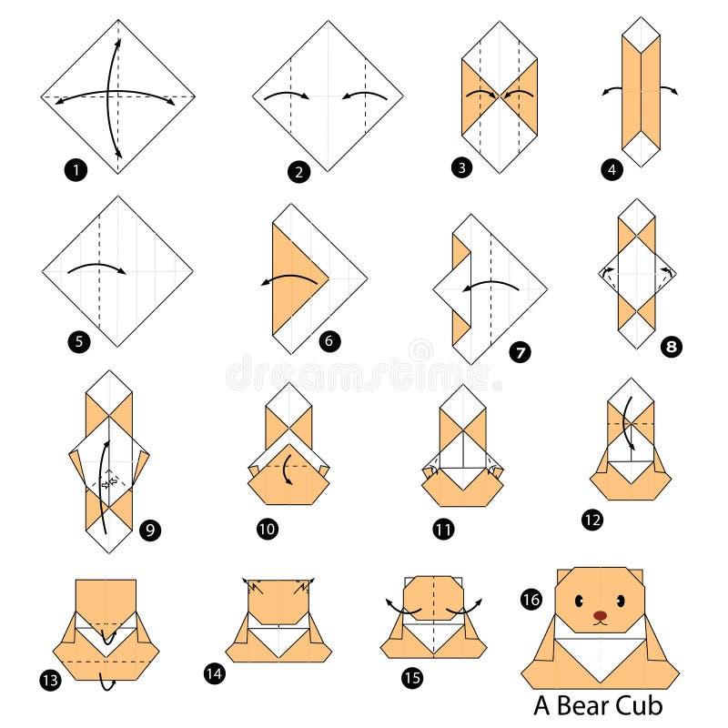 Постепенные инструкции как сделать origami новичка медведя иллюстрация штока