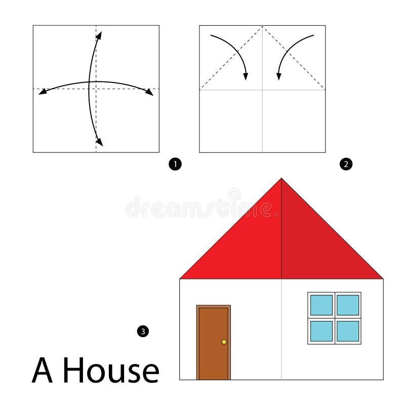 Постепенные инструкции как сделать origami дом стоковое фото