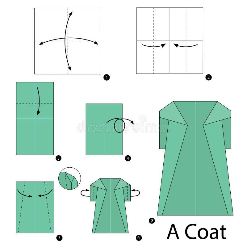 Постепенные инструкции как сделать origami пальто иллюстрация штока