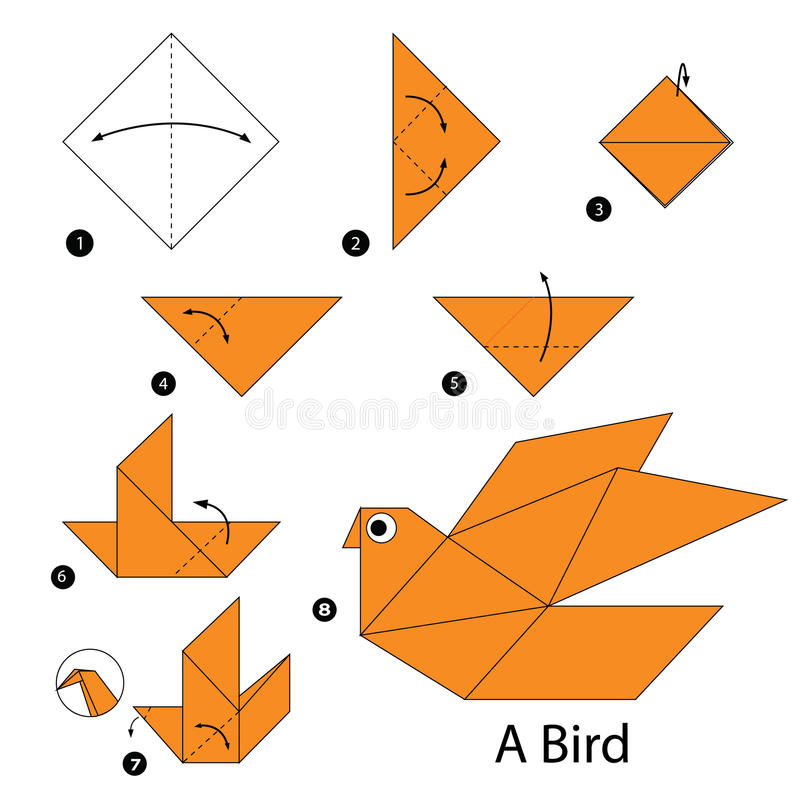 Постепенные инструкции как сделать origami птицу стоковое фото rf
