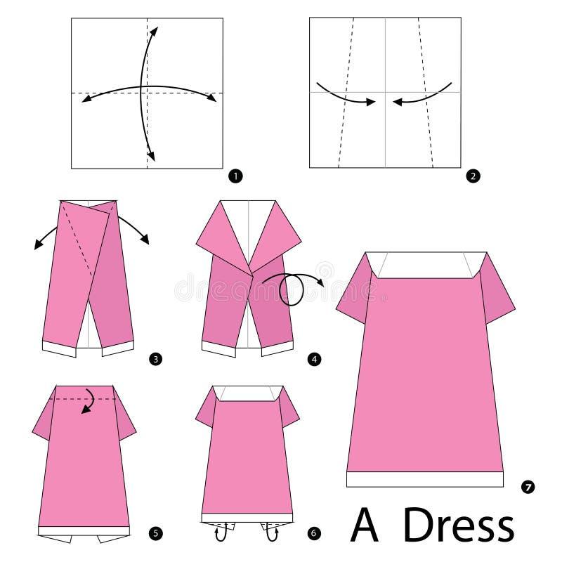 Постепенные инструкции как сделать origami платье иллюстрация вектора