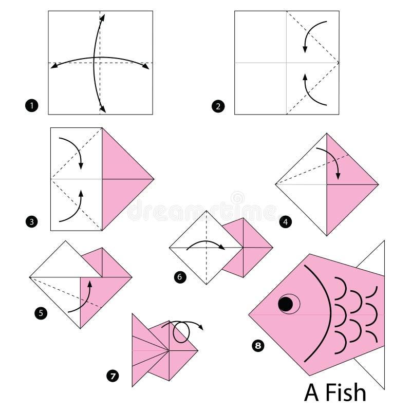 Постепенные инструкции как сделать origami рыбу бесплатная иллюстрация