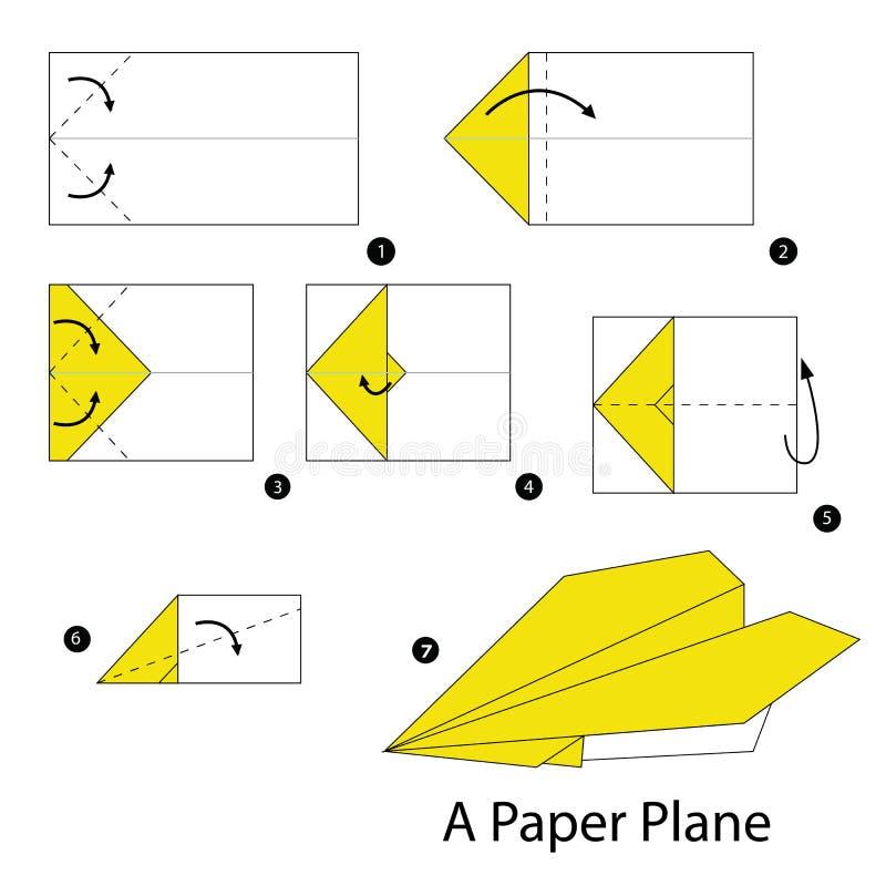 Постепенные инструкции как сделать origami самолет иллюстрация штока