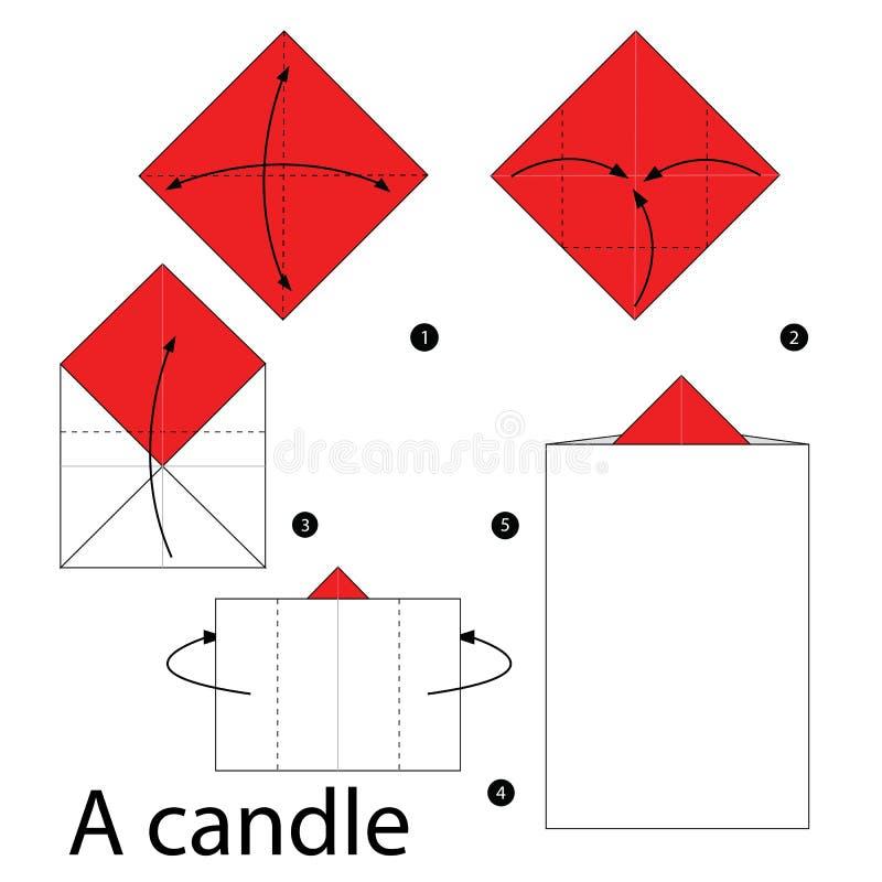 Постепенные инструкции как сделать origami свеча бесплатная иллюстрация