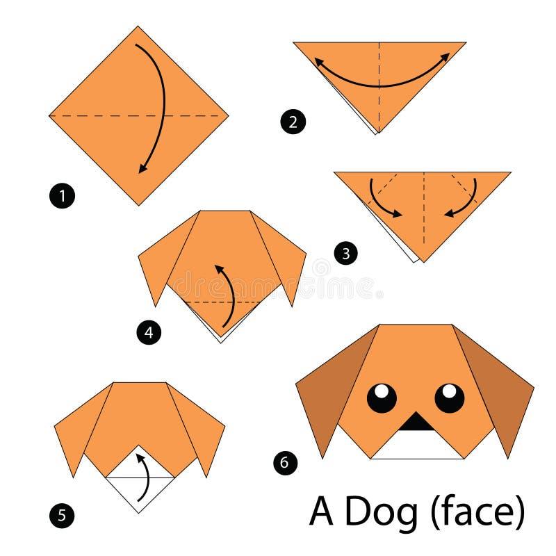 Постепенные инструкции как сделать origami собаку (сторона) иллюстрация вектора