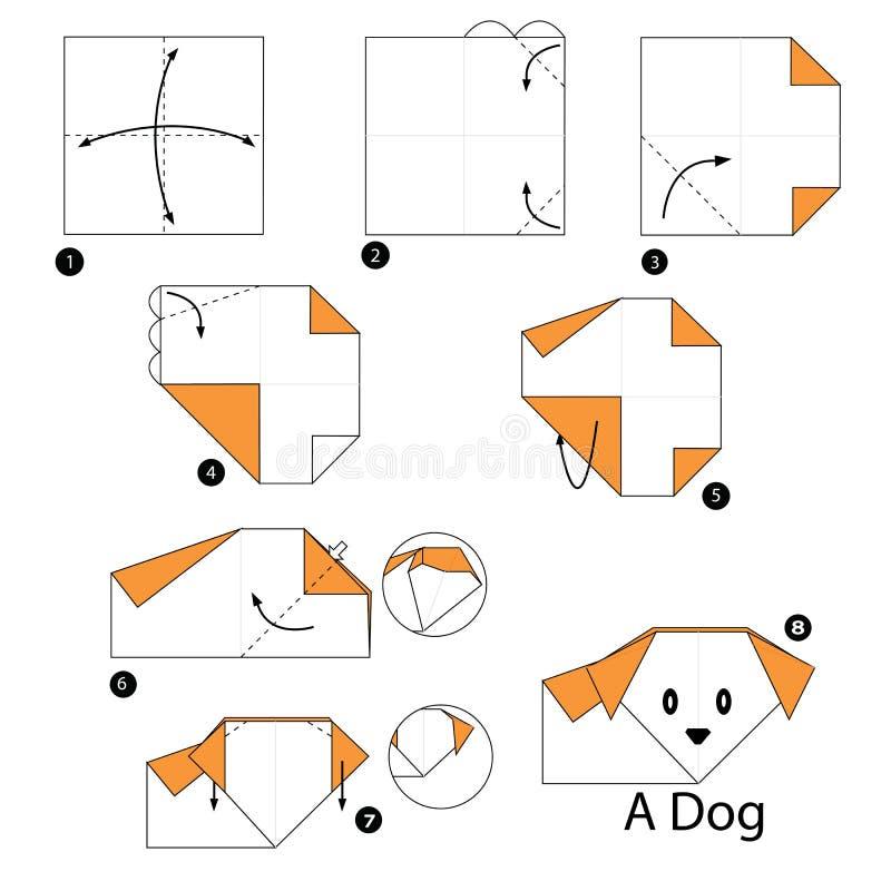 Постепенные инструкции как сделать origami собаку бесплатная иллюстрация