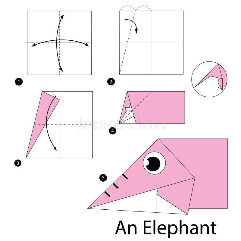 Постепенные инструкции как сделать origami слона бесплатная иллюстрация