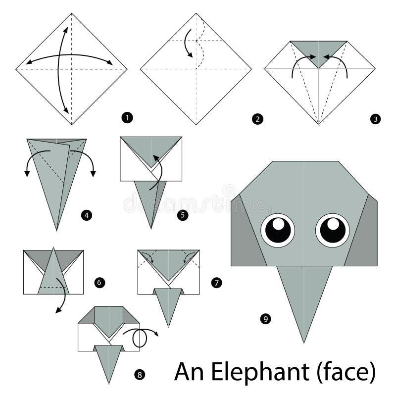 Постепенные инструкции как сделать origami слона иллюстрация вектора