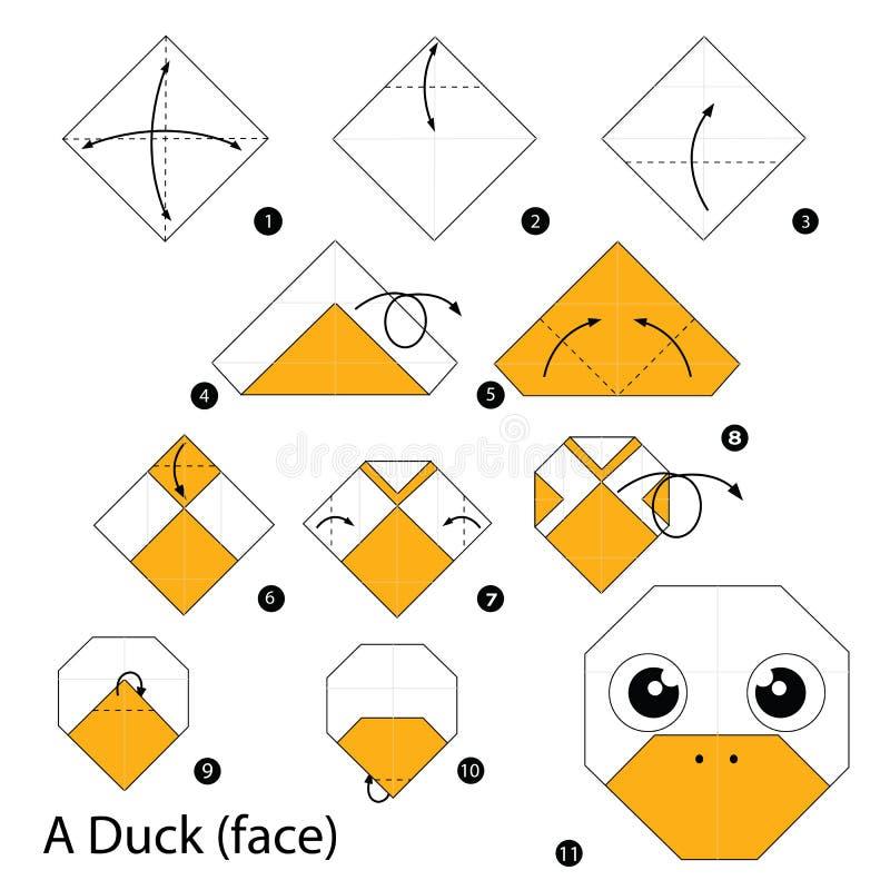 Постепенные инструкции как сделать origami утку (сторона) иллюстрация штока