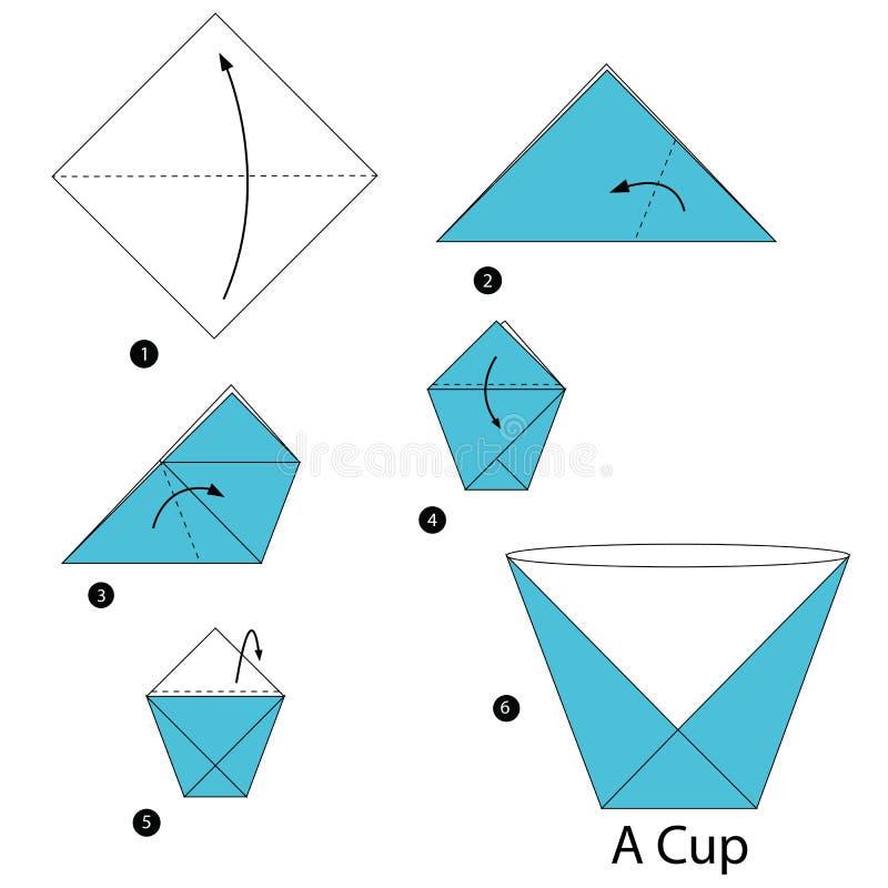 Постепенные инструкции как сделать origami чашка иллюстрация вектора