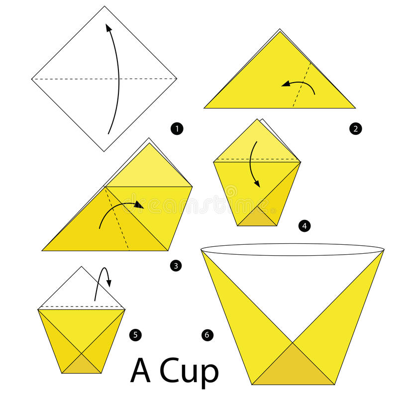 Постепенные инструкции как сделать origami чашка иллюстрация штока