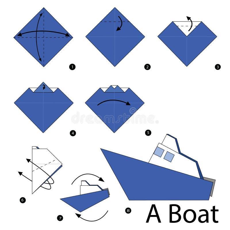 Постепенные инструкции как сделать origami шлюпку иллюстрация вектора
