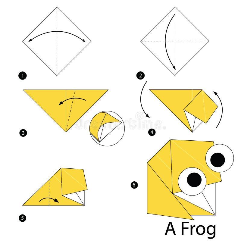 Постепенные инструкции как сделать origami лягушку бесплатная иллюстрация