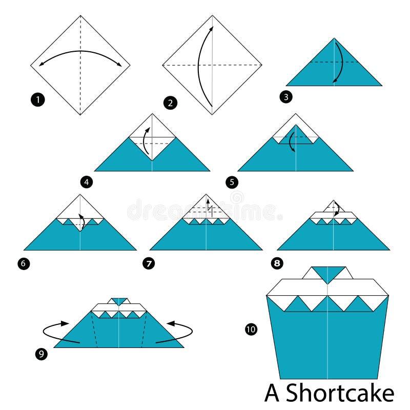 Постепенные инструкции как сделать origami Shortcake иллюстрация штока