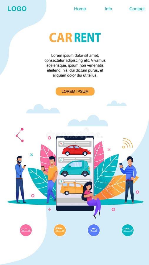 Постраничный макет ренты автомобиля мобильный Плоский шаблон приложения бесплатная иллюстрация