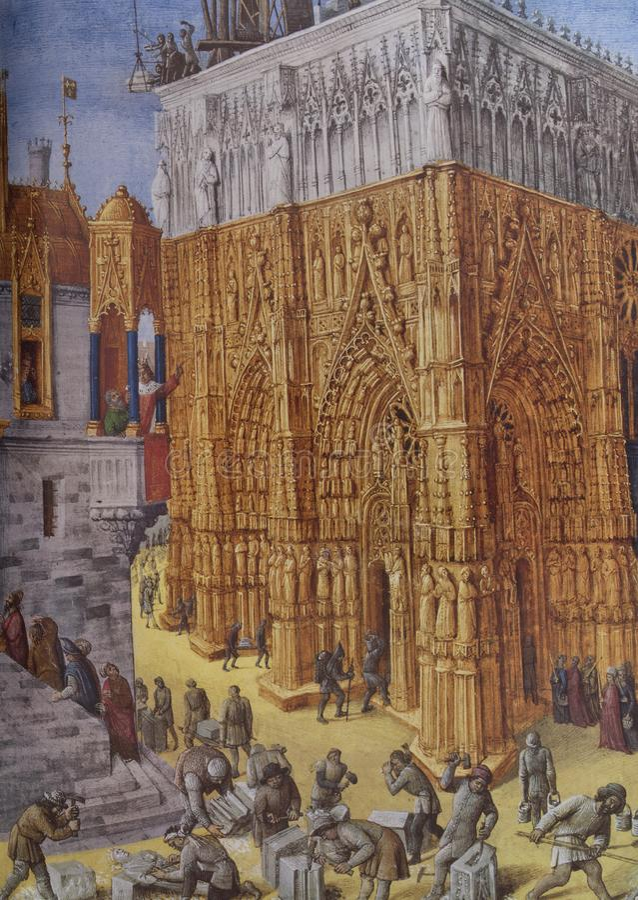 Построение виска Иерусалима, 1470 Джин Fouquet стоковые изображения rf
