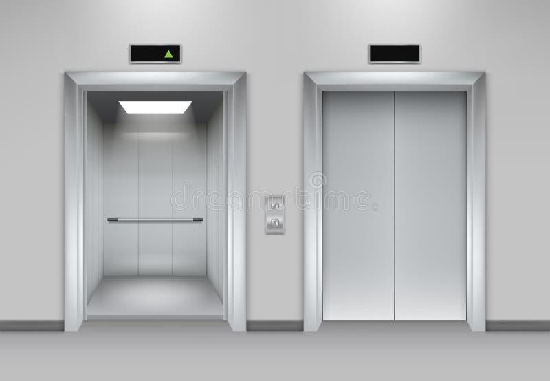 Построение дверей подъема Кнопки металла хрома лифта дверей открытия фасада офиса внутренние реалистические заключительные иллюстрация вектора