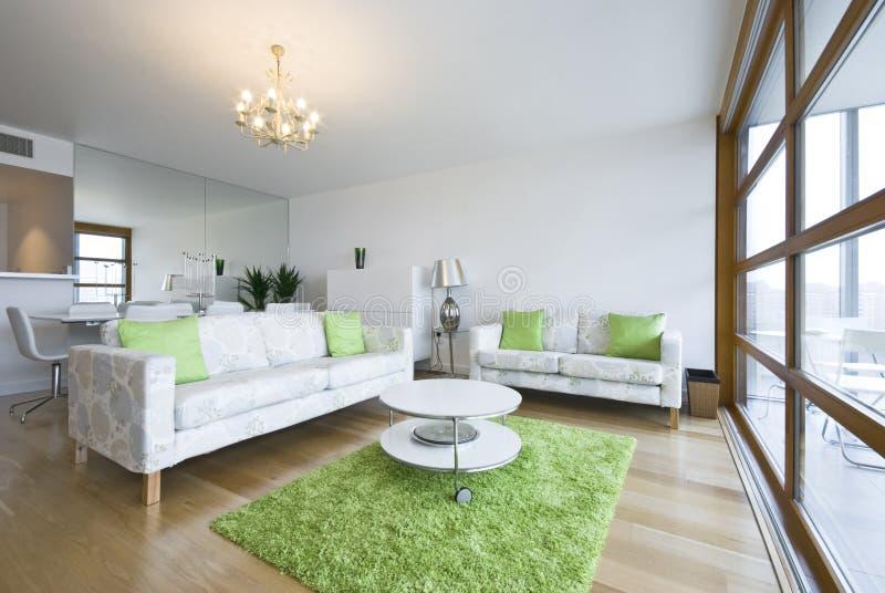 построенная живущая роскошная новая комната пентхауса стоковые изображения