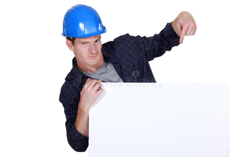 Построитель повышая его дело стоковое изображение