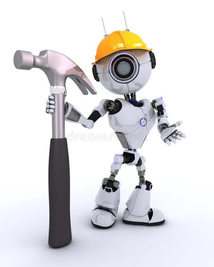 Построитель робота с молотком иллюстрация штока