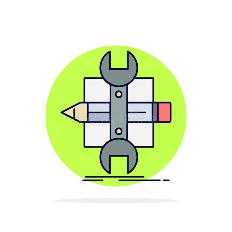 Построьте, конструируйте, превратитесь, сделайте эскиз к, вектор значка цвета инструментов плоский бесплатная иллюстрация
