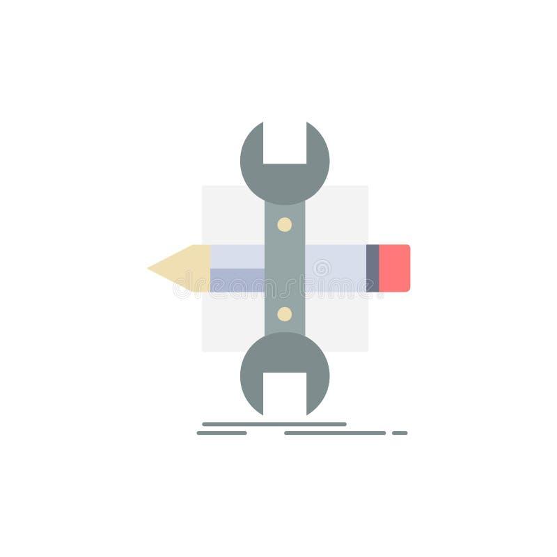 Построьте, конструируйте, превратитесь, сделайте эскиз к, вектор значка цвета инструментов плоский иллюстрация штока