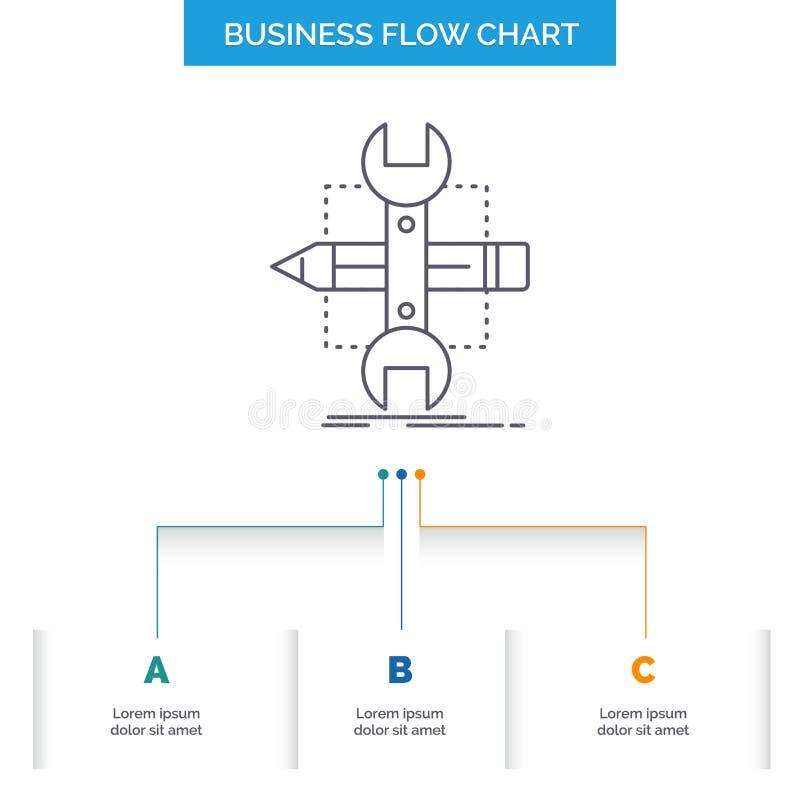 Построьте, конструируйте, превратитесь, сделайте эскиз к, дизайн графика течения дела инструментов с 3 шагами r бесплатная иллюстрация