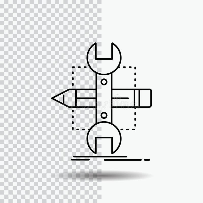 Построьте, конструируйте, превратитесь, сделайте эскиз к, инструменты выровняйте значок на прозрачной предпосылке r иллюстрация штока