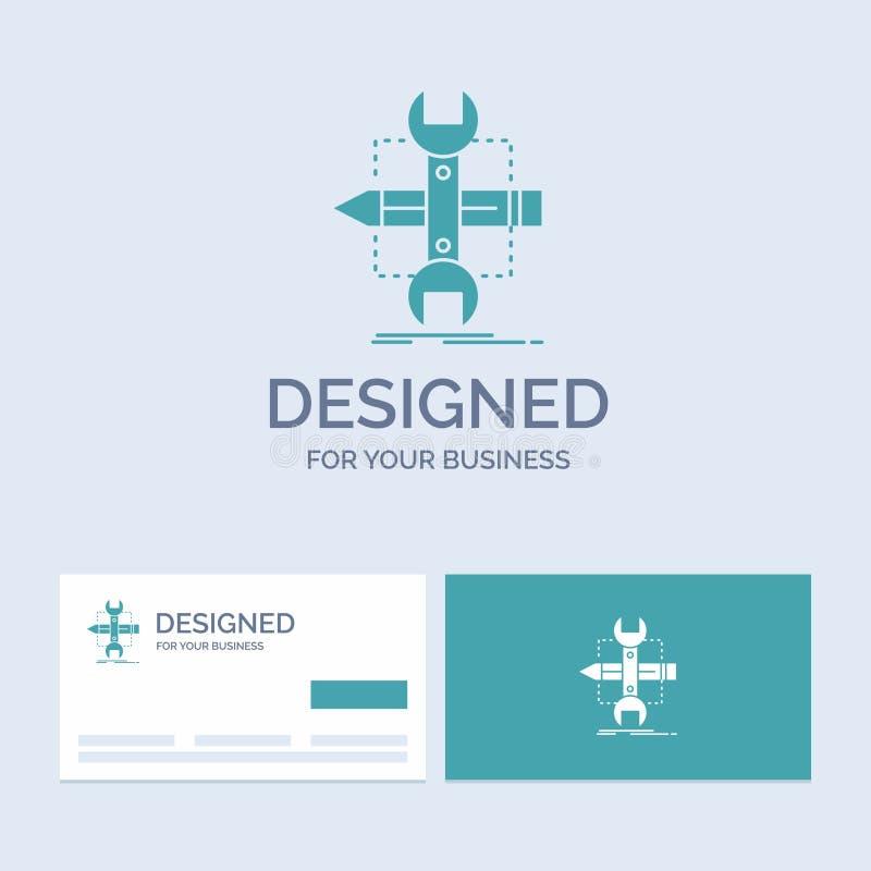 Построьте, конструируйте, превратитесь, сделайте эскиз к, символ значка глифа логотипа дела инструментов для вашего дела r иллюстрация вектора