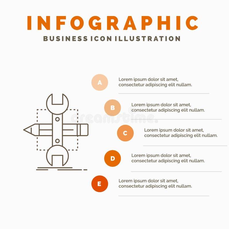 Построьте, конструируйте, превратитесь, сделайте эскиз к, шаблон Infographics инструментов для вебсайта и представление r иллюстрация вектора