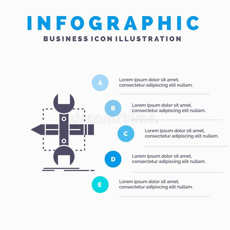 Построьте, конструируйте, превратитесь, сделайте эскиз к, шаблон Infographics инструментов для вебсайта и представление r иллюстрация штока