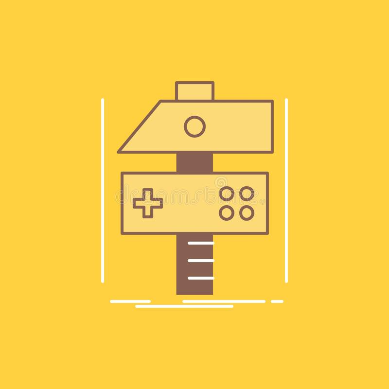 Построьте, произведите, превратитесь, разработчик, линия заполненный значок игры плоская Красивая кнопка логотипа над желтой пред иллюстрация штока